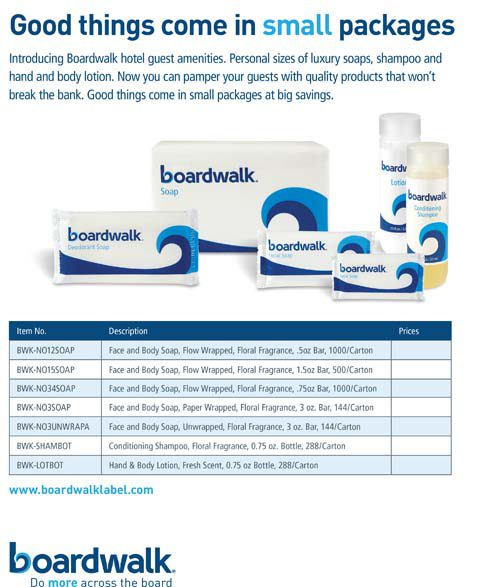 Boardwalk Hotel Guest Amenities: Tiny packages. Huge benefits.